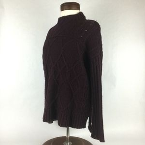 LOFT Dark Burngundy Chunky Cable Knit Sweater